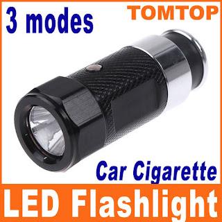 Mini Rechargable LED Car Cigarette Lighter Flashlight Torch Black