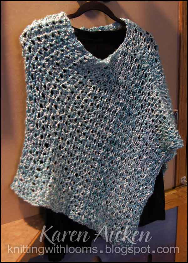 Free Knitting Pattern For Short Poncho : Knitting With Looms: Aqua Short Poncho