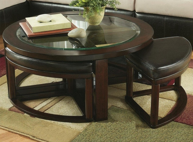 Haram Furniture Solid Wood Glass Top Coffee Table W Stools By