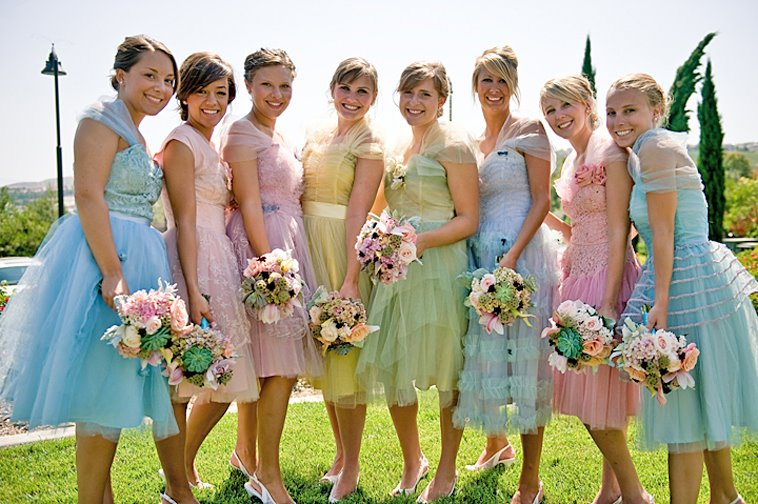 These are not traditional dresses for a wedding, but look really good ...
