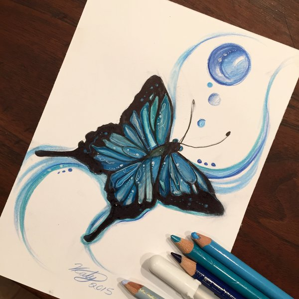 16-Blue-Butterfly-Katy-Lipscomb-Lucky978-Fantasy-Watercolor-Paintings-Colored-Pencils-Drawings-www-designstack-co