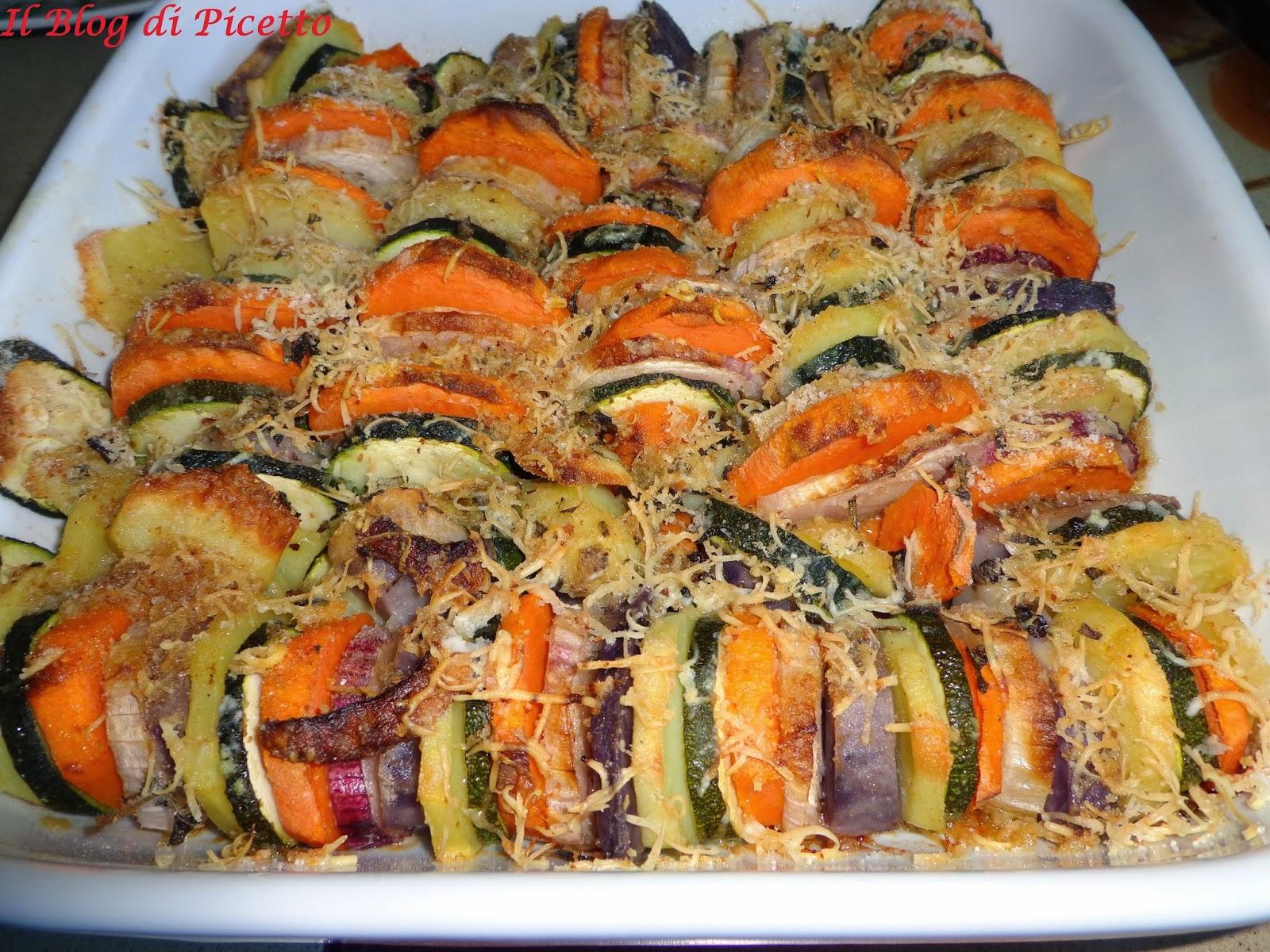 terrina di patate gialle silane, patate dolci americane, patate vitelotte, cipolle di tropea e zucchine gratinate