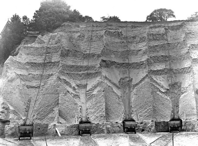 Parish's Loam Work, Erith. Looking S. This is (really) the southern portion of the great pit, entered along the southern tramline. View looking south and shows mode of working. A small adit is made at foot of the face. The overlying sand is shovelled down, with the truck placed at mouth of adit. This causes the curious aspect of the face. The sand does not show bedding unless seen very closely. This exposes the whole thickness of the Thanet Sand, about 70 feet, with an ill-defined capping of the pebbly series.