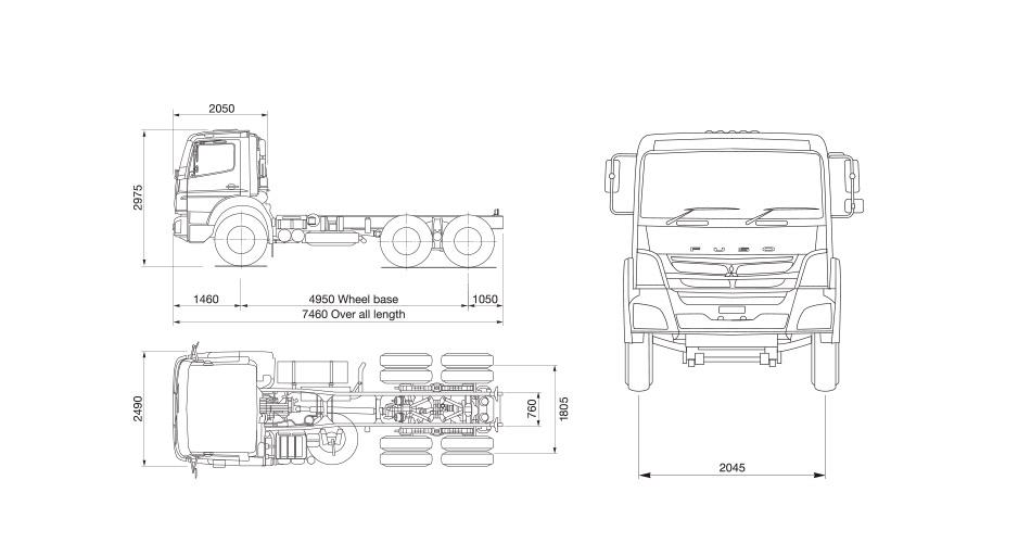 Dimensi Mitsubishi Fuso FJ 2528 6X4 280 PS Jambi