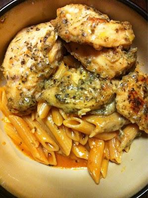 Garlic Pesto Chicken with Tomato Cream Penne