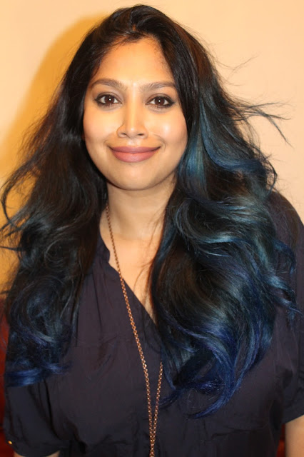 brown girl with blue hair, manic panic rockabilly blue on dark hair