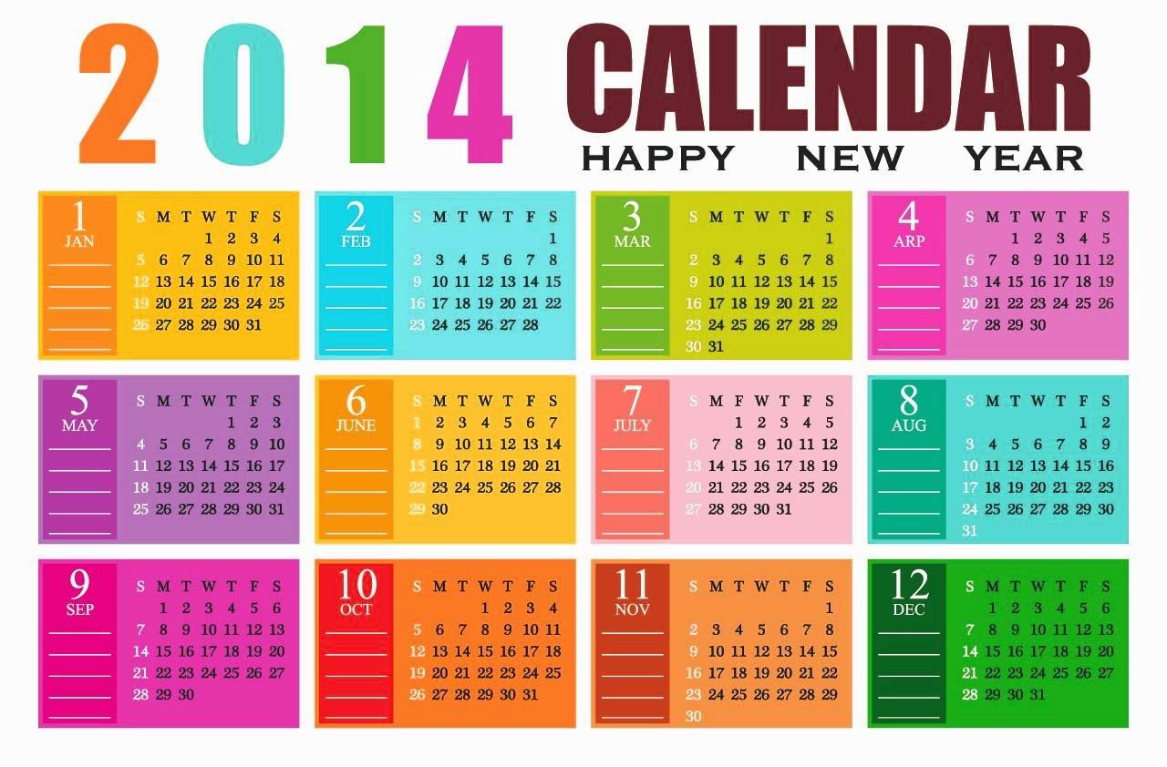 Rainbow Colors Calendar