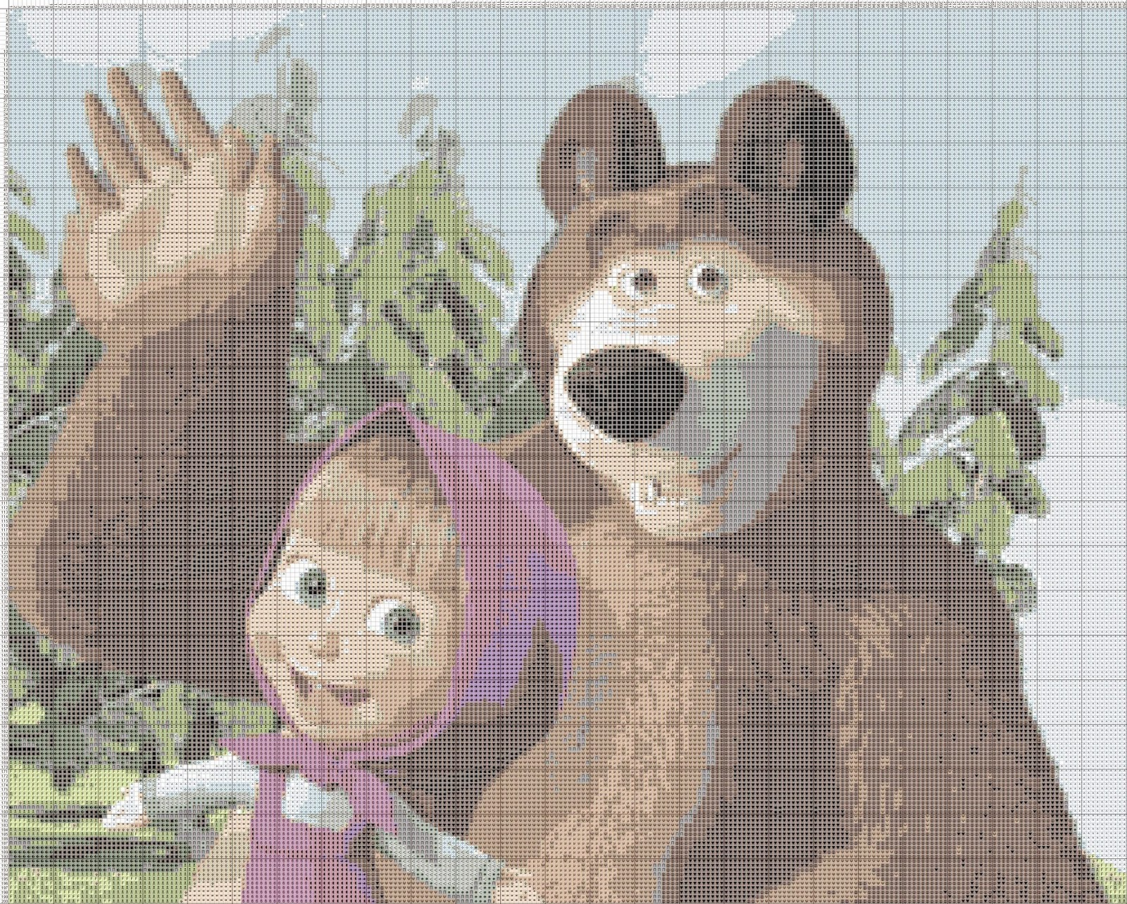 Gambar Pola Kristik Masha and The Bear