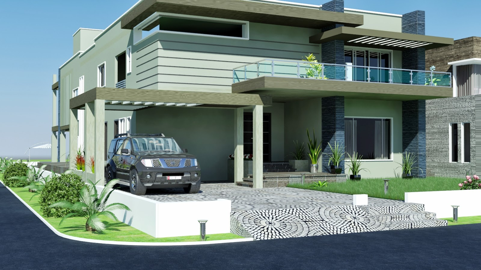 DHA 3D Front Elevation Houses