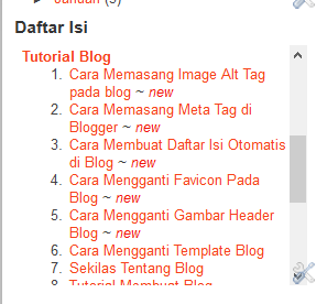 cara membuat daftar isi otomatis blog