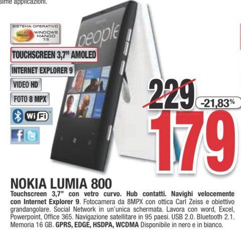 Miglior prezzo per il Lumia 800 venduto a 179 euro sul volantino Comet per tutto febbraio 2013