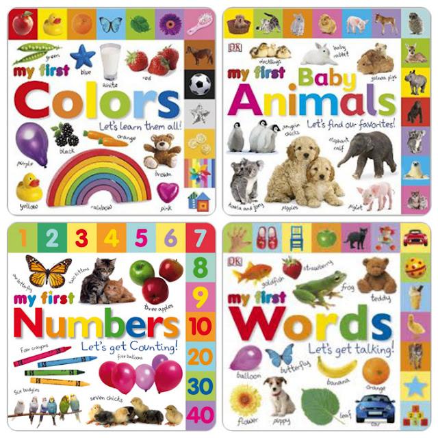 سلسلة كتب لطيفة للأطفال غنية بالصور والصفحات my first colors words animals words