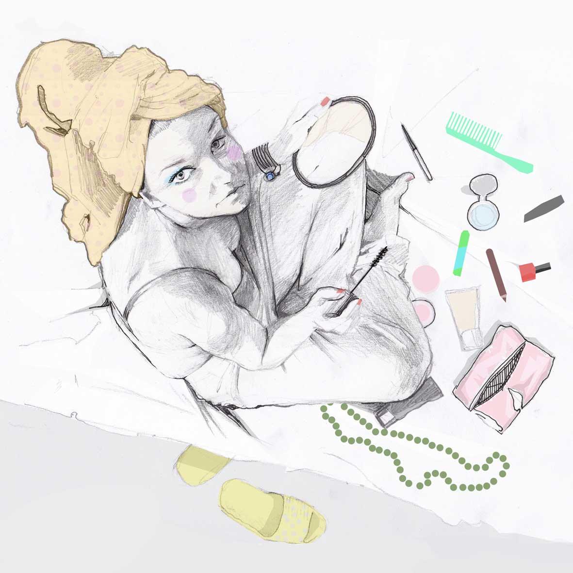 ilustracje illustration woman girl make make up kobieta kobiece Urbaniak portrety ilustracja na blogi strony internetowe do artykułów wierszy opowiadań