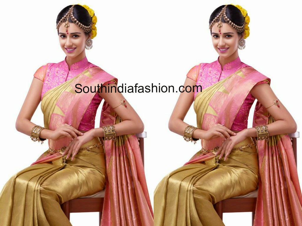 gold and pink bridal silk saree
