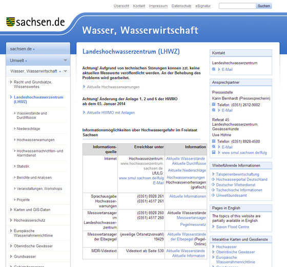 Screenshot Landeshochwasserzentrum, 27.05.2014, 16:00 Uhr