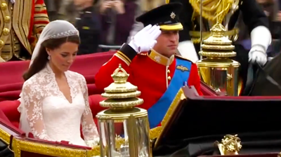 The weds salute at the band playing God Save the Queen, Catherine bows, William salutes. YouTube 2011.