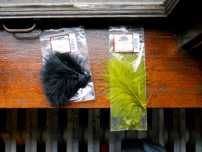 Black and green marabou