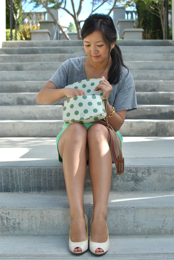 mint and grey outfit
