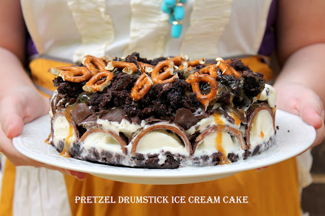 pretzel drumstick ice cream cake from cherryteacakes.com