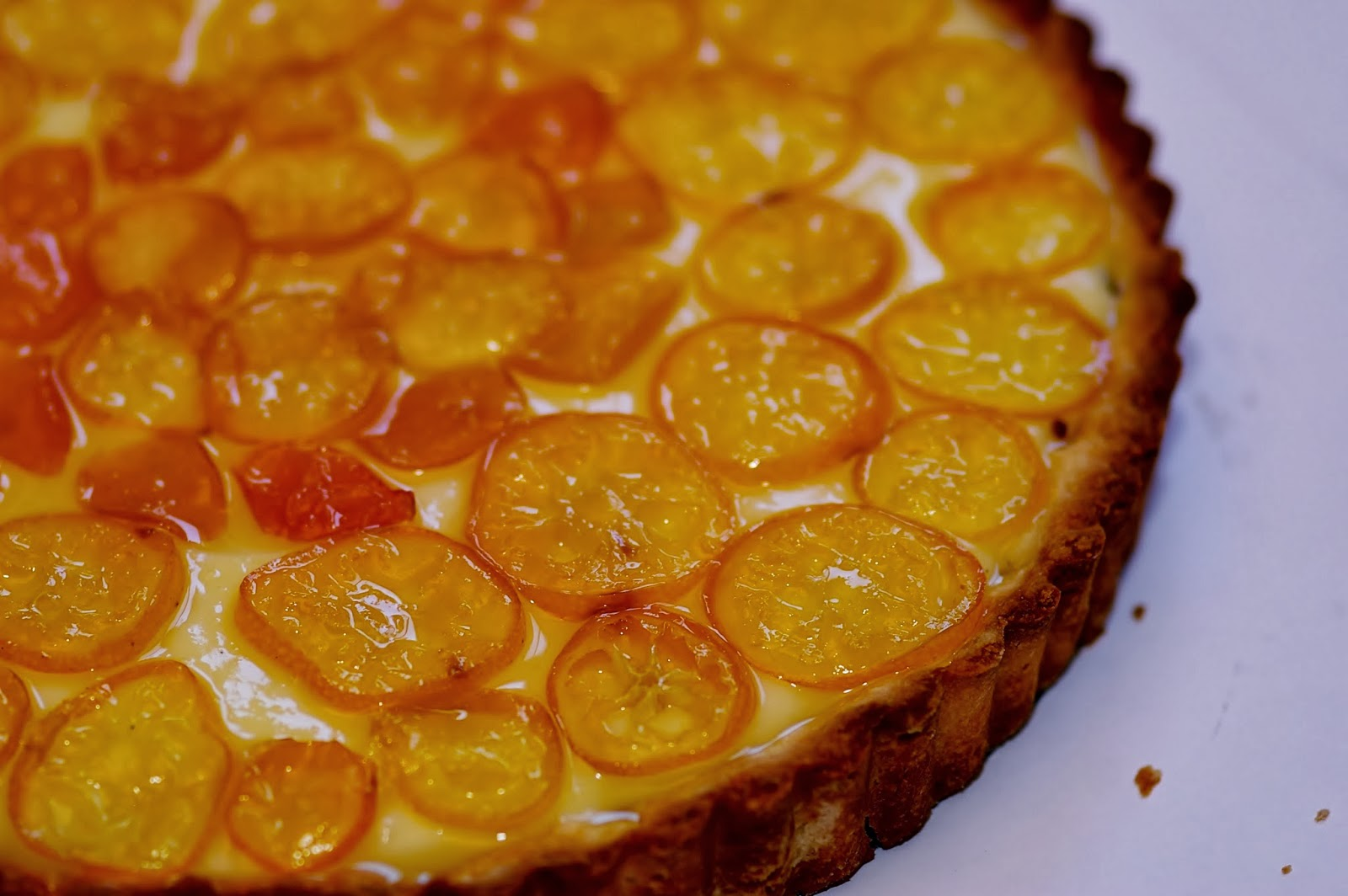 the candied kumquats on the tart