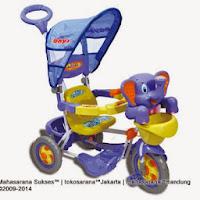 Sepeda Roda Tiga ROYAL RY8288C Baby Bom Gajah + Ayunan dan Kanopi Bulat
