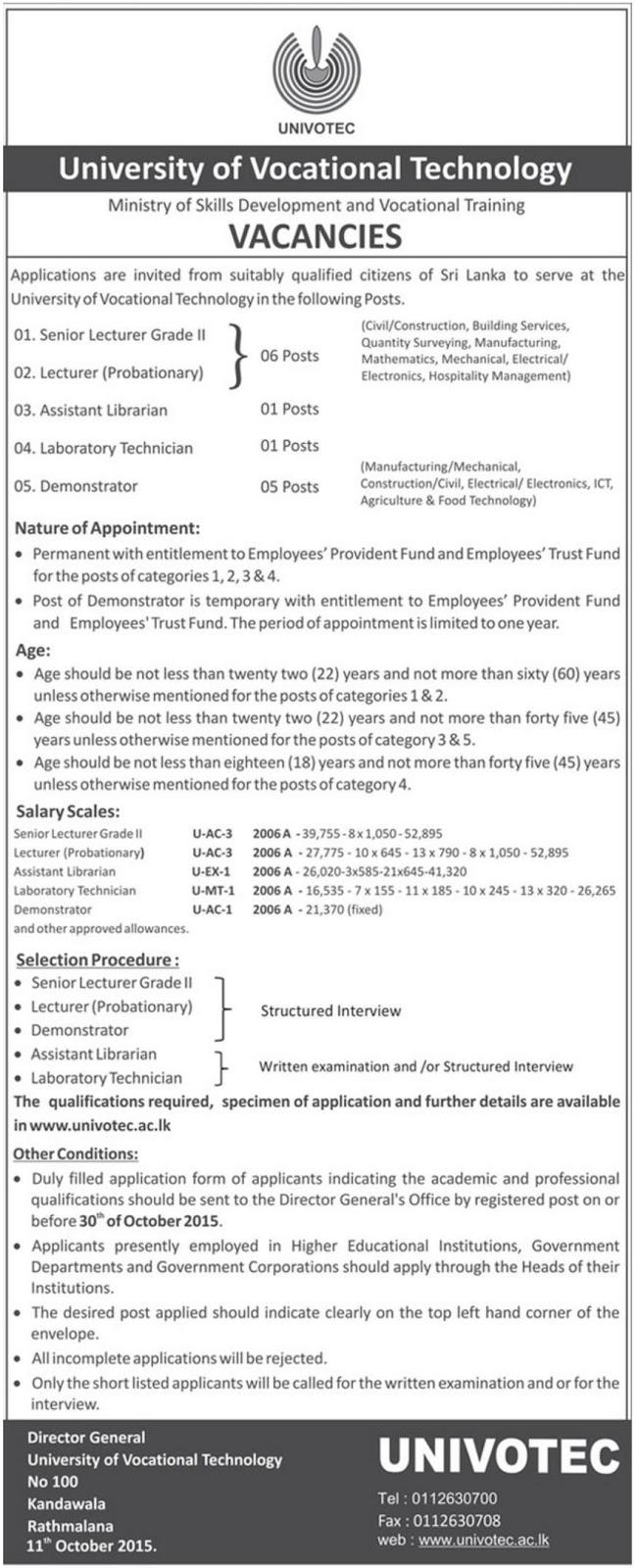 vacancies at university of vocational technology government jobs vacancies at university of vocational technology