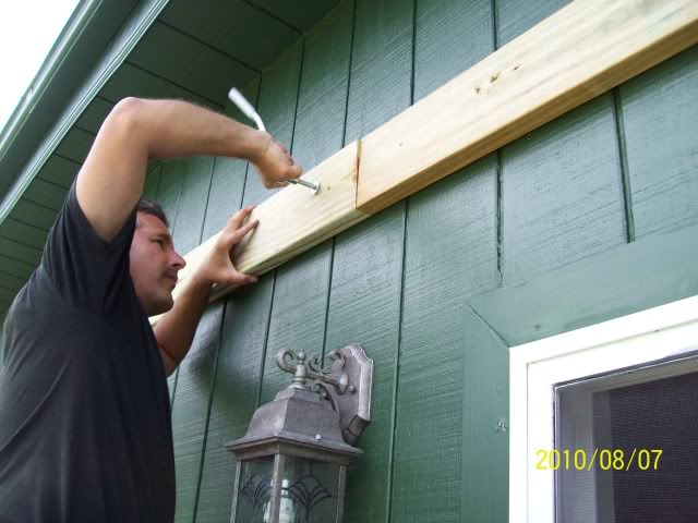 Once The Ledger Board Is Attached To House We Have Install Front Posts Are Installing Four 4x4 Hole Up Cross Beams And