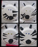 photo of: zebra craft project for children, zoo art project on paper plate, jungle theme crafts