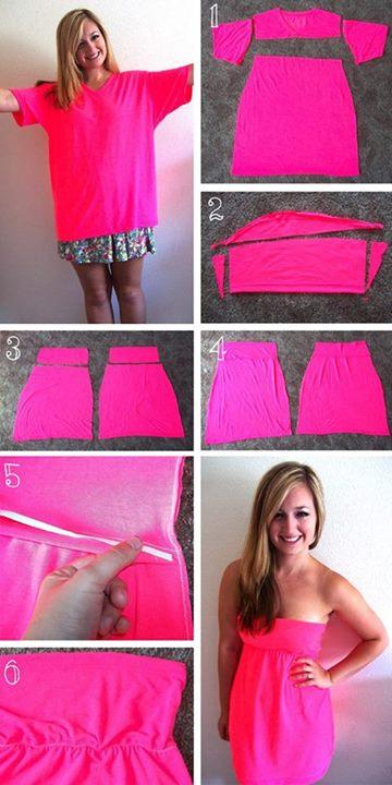 Hacer un vestido a partir de una remera vieja