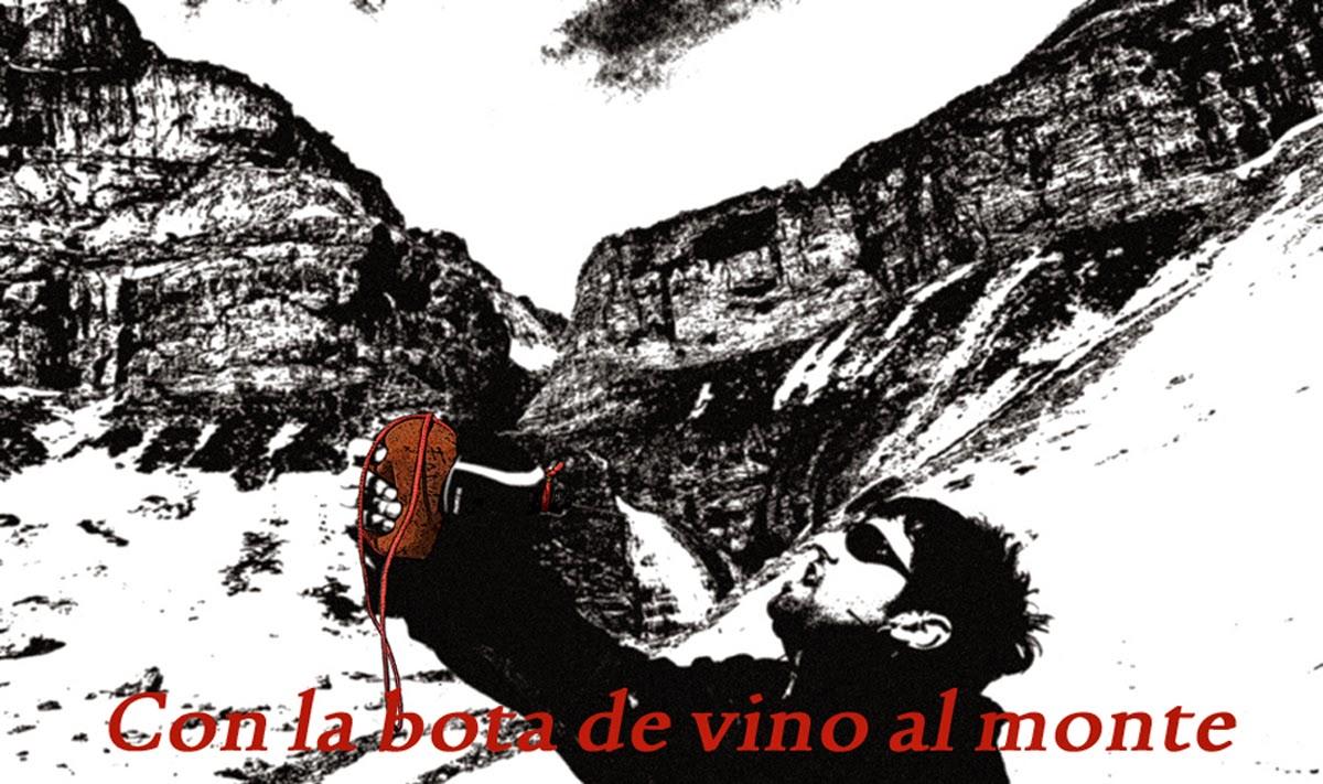 Con la bota de vino al monte