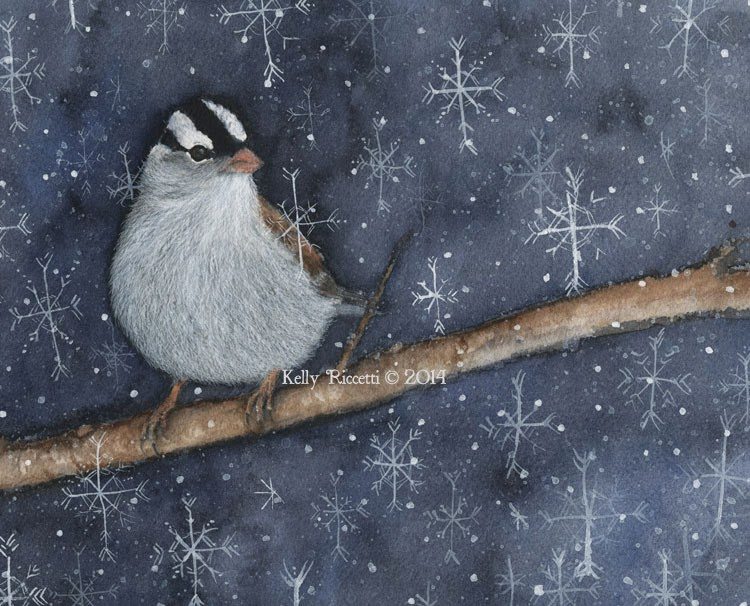 A White-crowned Sparrow sits with snowflakes falling all around. This is a realistic painting of the bird, but the snowflakes are whimsical.