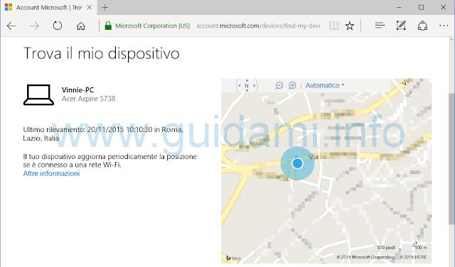 Windows 10 mappa posizione portatile Trova il mio dispositivo