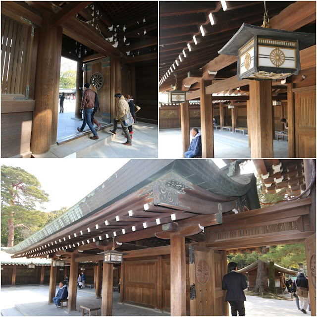 Admiring the structure design of the wooden Shrine Memorial Hall buildings at Meiji Shrine in Tokyo, Japan