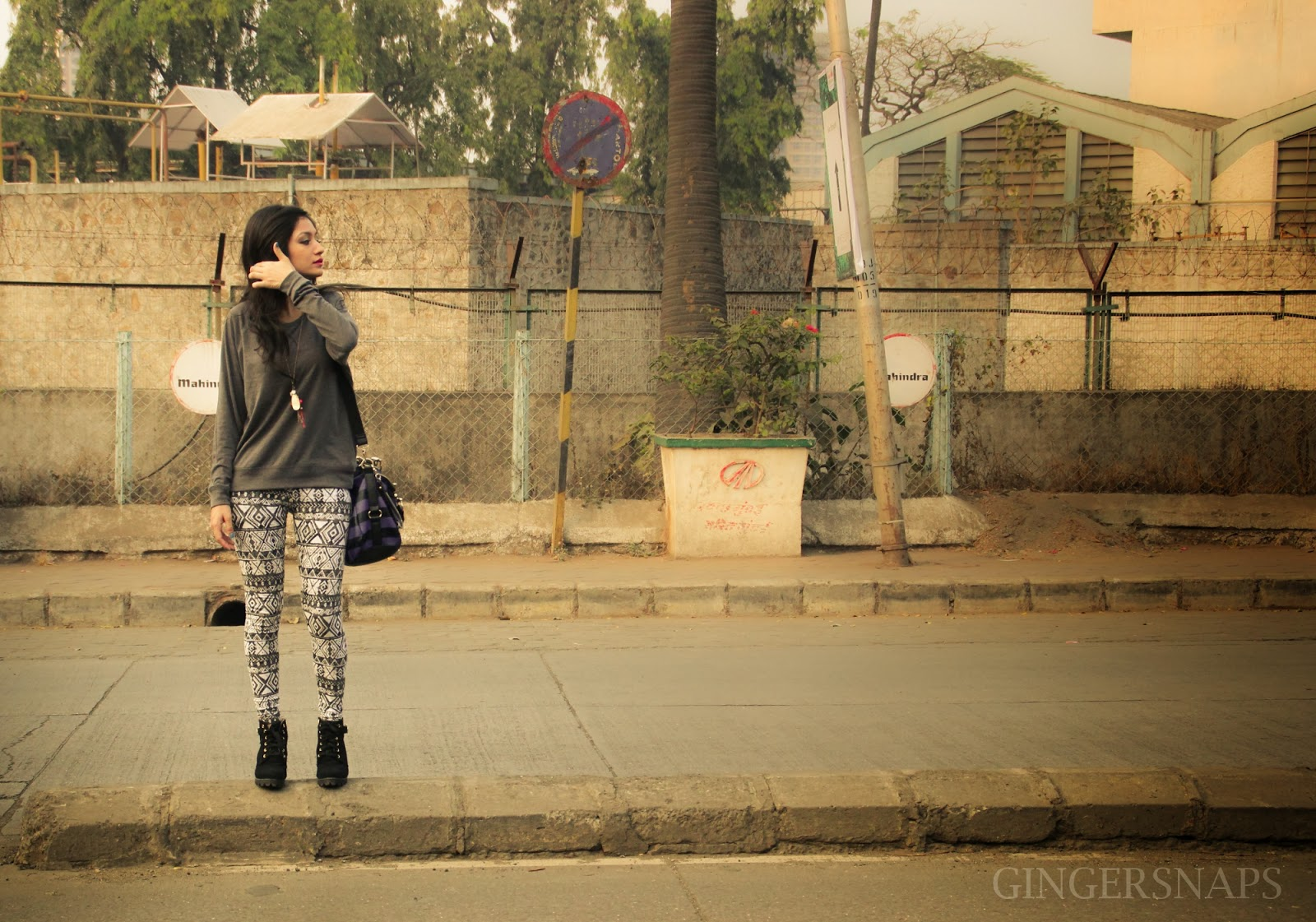 Karishma Rawat, Grey Pullover, Aztec Pants, Street Fashion India