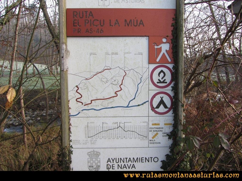 Ruta PR AS-46 Pico Mua: Cartel de la ruta