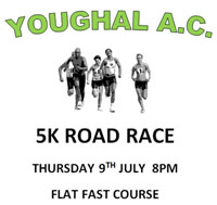 Fast flat 5k course in Youghal, East Cork..Thurs 9th July