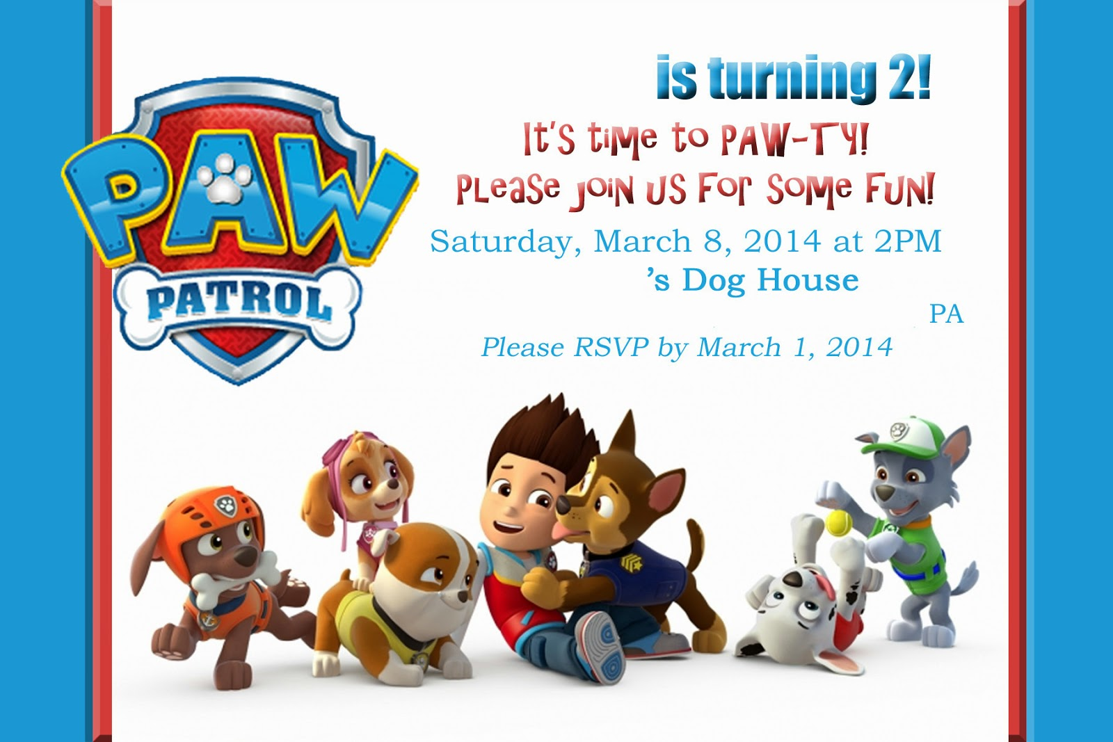 graphic regarding Paw Patrol Printable Decorations named Mothers Tot Faculty: PAW Patrol / Doggy Occasion!