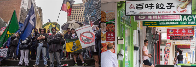 Reclaim Australia demo in Sydney; Chinese shops in Auckland