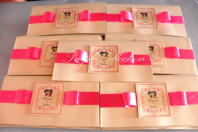 Best Seller Shocking Pink Wedding Invitation Cards, pink cartoon, wedding cartoon invitates, wedding invitation cards, classic fold, ivory gold card, shocking pink satin ribbon, light purple sheet, red envelope, pink ribbon, best seller card, shocking pink wedding invitation card, wedding invitation card, wedding, invitation