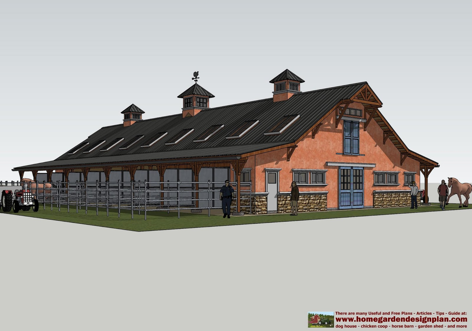 Home garden plans hb100 horse barn plans horse barn for Equestrian barn plans