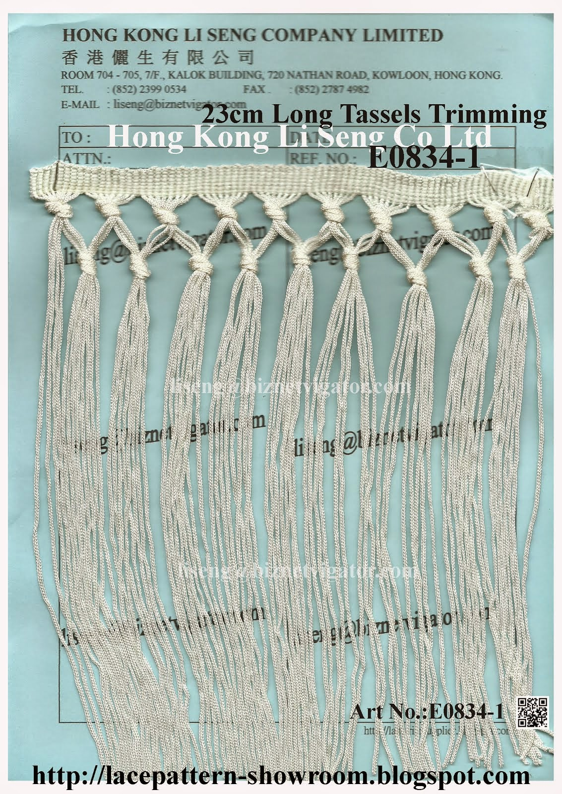 23cm Long Tassels Trimming Wholesale Manufacturer and Supplier - Hong Kong Li Seng Co Ltd