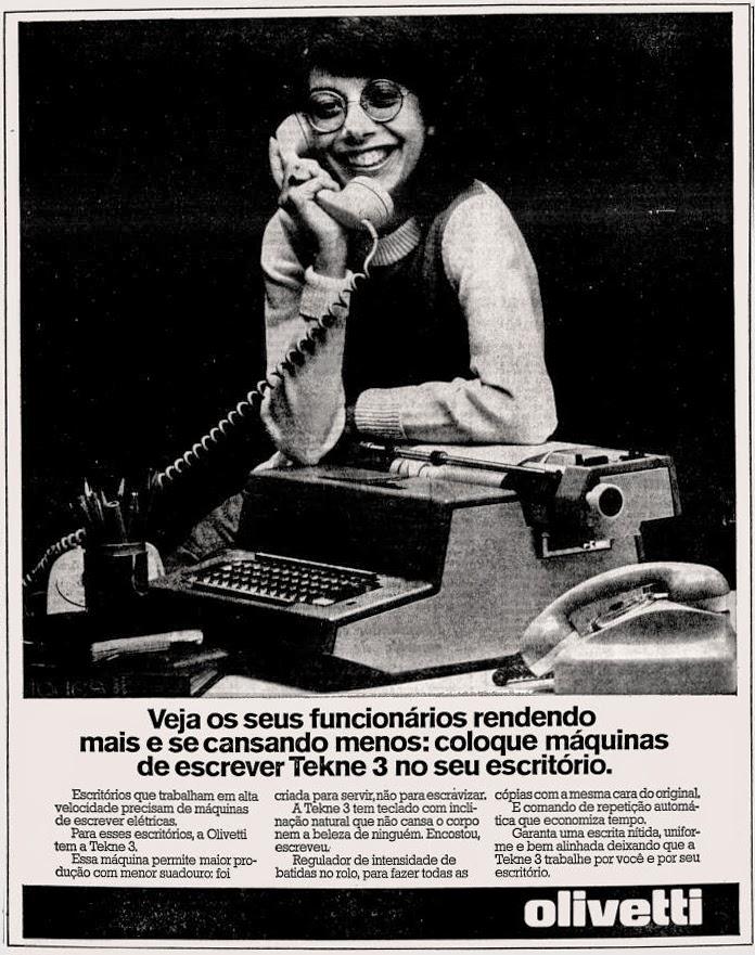 olivetti.  anos 70.  Reclame 1976.  década de 70. os anos 70; propaganda na década de 70; Brazil in the 70s, história anos 70; Oswaldo Hernandez;