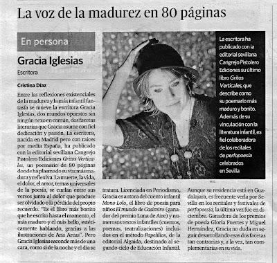 Diario de Sevilla, Gracia Iglesias, Cangrejo Pistolero, Gritos Verticales, escritora, poesía, literatura infantil, Cristina Díaz