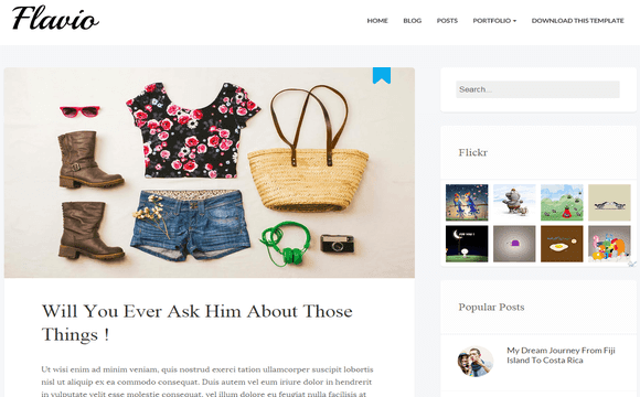 Flavio Simple Fashion Blogger Template Blogger Template