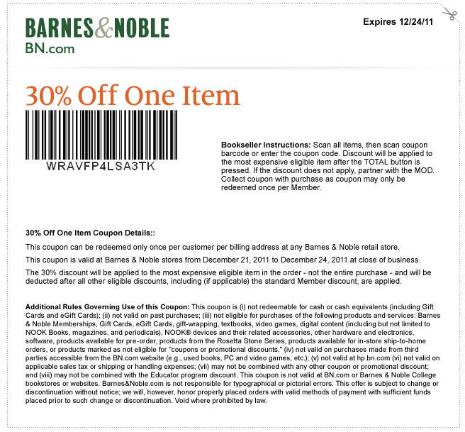 Barnes and nobles coupon code