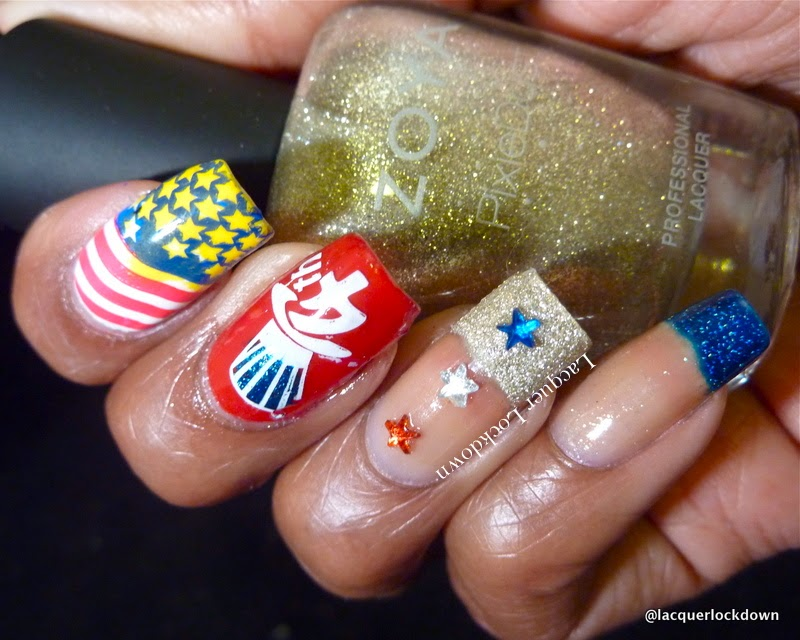 Lacquer Lockdown - Zoya Carter, Zoya Godiva, Zoya Blaze, Rica Whiteout, bundle monster, HD25, 4th of July Nail Art, star rhinestones, funky french tips, flag nail art, patriotic nail art, independence day nail art, nail art stamping blog, nail art stamping, nail stamping, diy nail art, cute nail art ideas