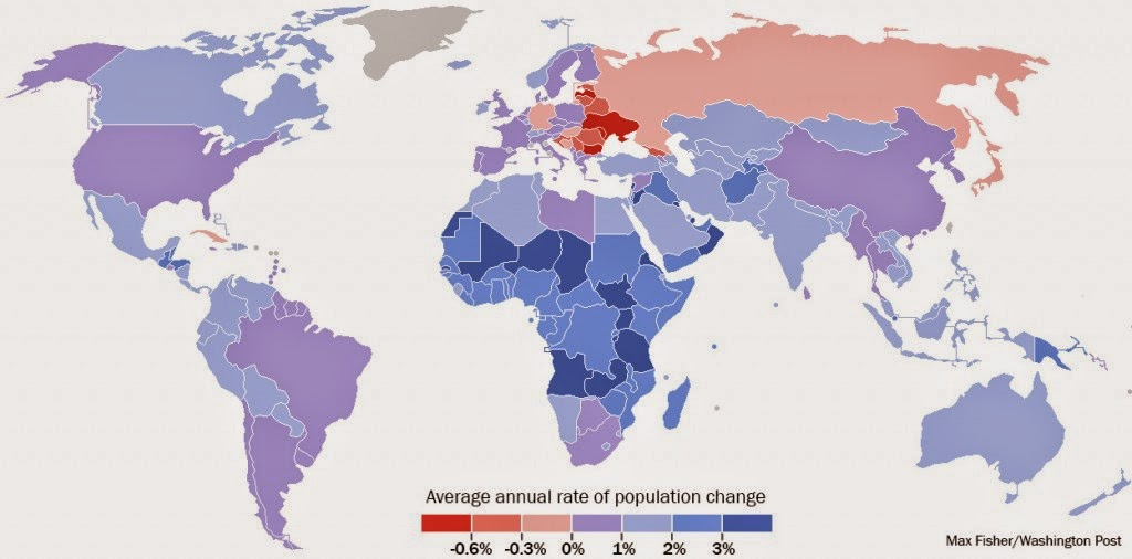 12 data visualisations that illustrate poverty's biggest challenges - National population growth rates