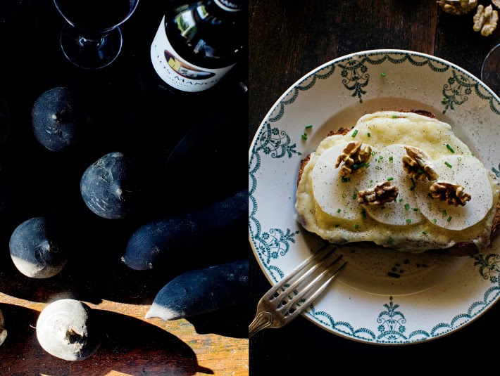 Grilled Raclette tartines with black radish, walnuts and chives