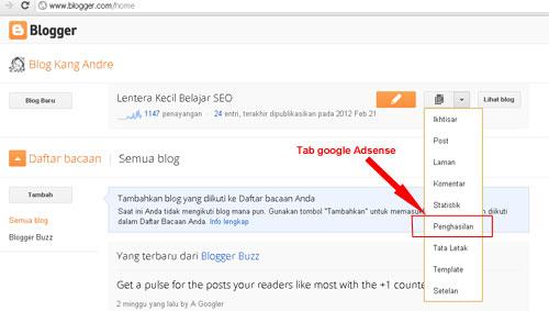 Mendaftar Google Adsense di blogspot