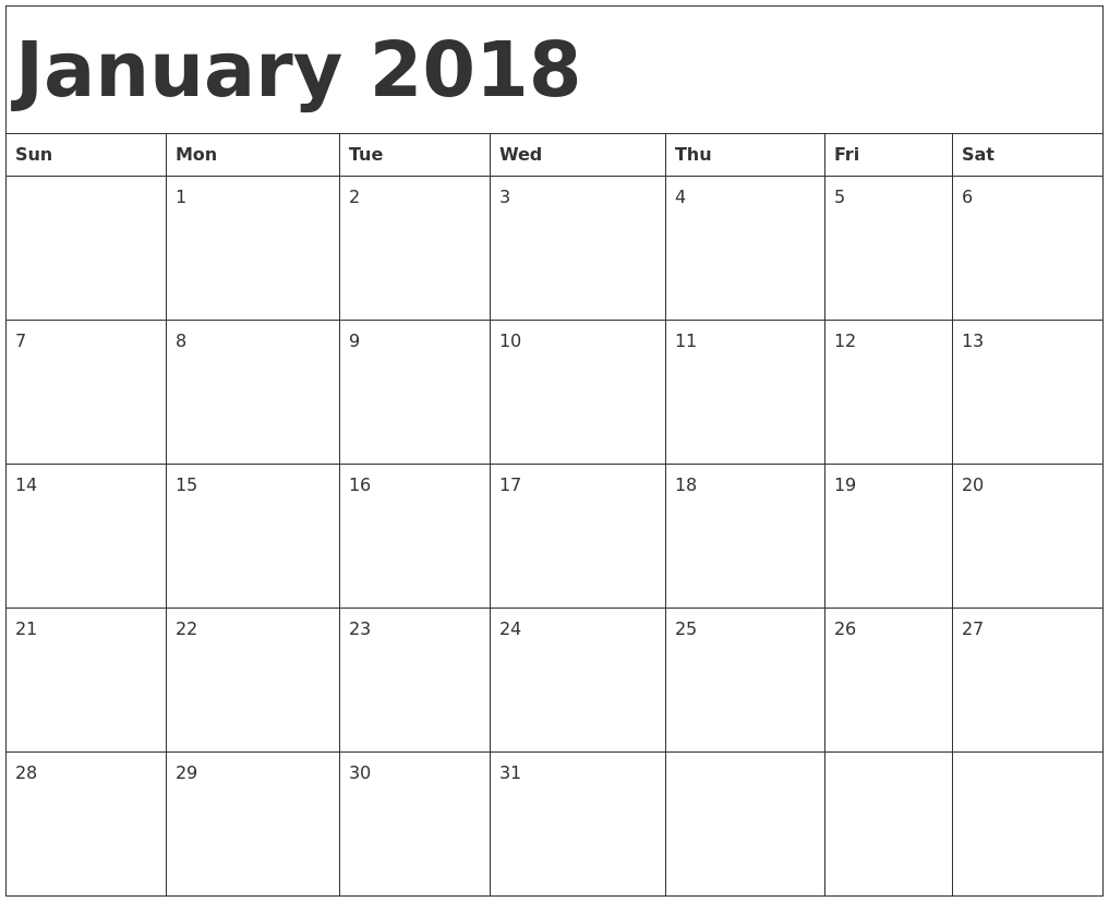 Blank Calendar Jan : Printable calendar free january